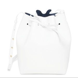 Mansur Gavriel large bucket bag white with blue